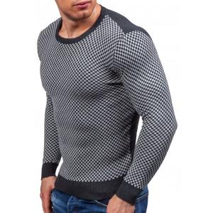 Pulovr šedé barvy kostkovaný pánský