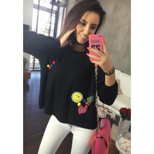 Trendy černý dámský pletený svetřík