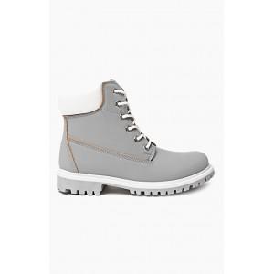Dámské boty workery v šedé barvě s hnědým lemováním