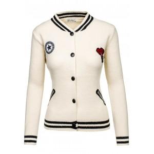 Moderní bílá dámská přechodná bunda