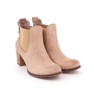 Dámské kotníkové kožené boty na vysokém podpatku