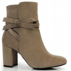 Dámská zimní semišová obuv s mašličkou béžové barvy