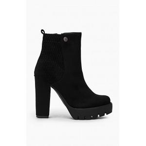 Semišové dámské kotníkové boty černé na vysokém podpatku