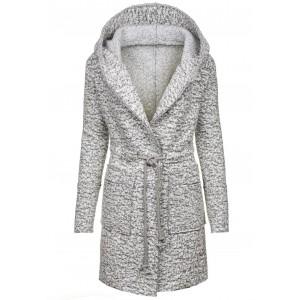 Šedé kabáty na zimu dámské s kapucí