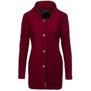 Bordó dámský kabát na knoflíky
