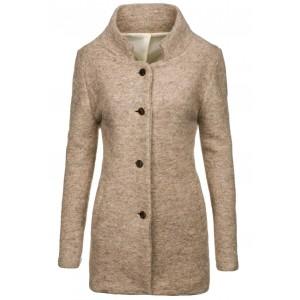 Dámský kabát béžové barvy bez kapuce