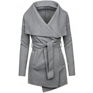Šedý kabát dámský na zimu s vázáním kolem pasu