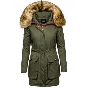 Zelená větrovka pro dámy s kožešinou na kapuci