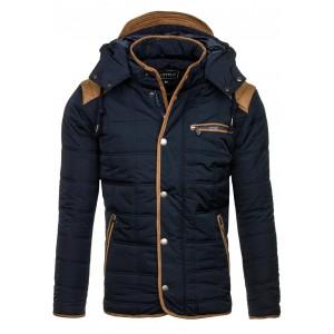 Tmavomodrá zimní bunda pro pány se zapínáním na knoflíky