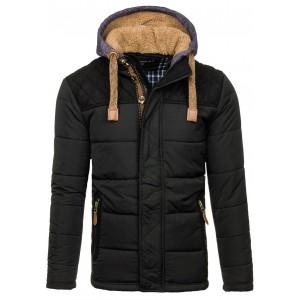 Černá zimní bunda s kožešinovou kapucí
