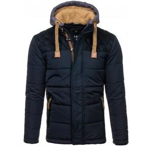 Zateplená pánská zimní bunda v tmavě modré barvě