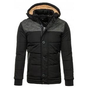 Černá prošívaná zimní bunda pro pány