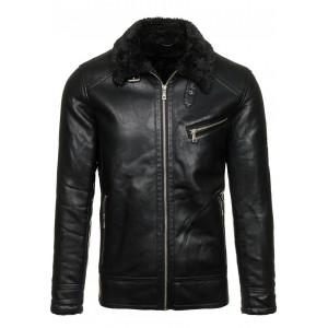 Černá pánská kožená bunda s kožešinou