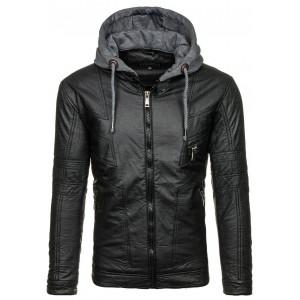 Moderní pánská kožená bunda černé barvy