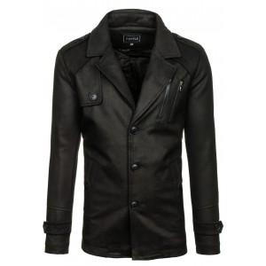 Moderní černé pánské kabáty na zimu
