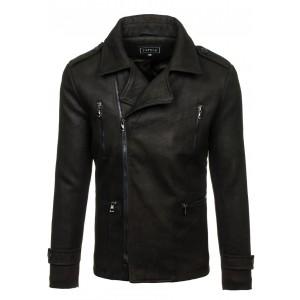 Pánský kabát se zapínáním na zip v černé barvě