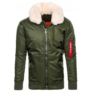 Zelená pánská zimní bunda s kožešinou