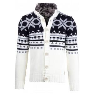 Skandinávský svetr v bílé barvě pro pány