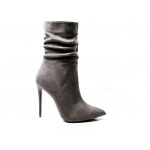 Siva dámská zimní obuv na vysokém podpatku