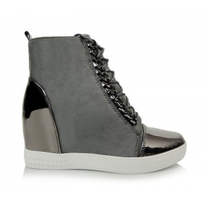 Dámské šedé kotníkové boty na zip s dekoračními šňůrkami