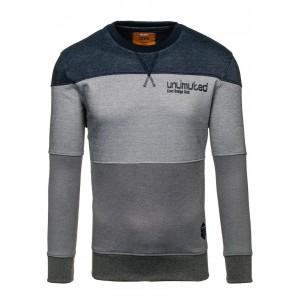 Pohodlný pánský pruhovaný svetr v šedé barvě s nápisem