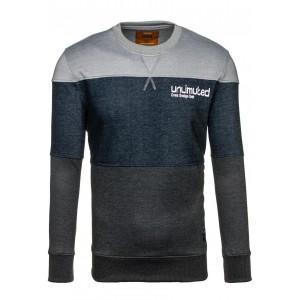 Tmavě modro šedý pánský pruhovaný svetr