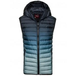 Pánská vesta modré barvy s kapucí a kapsami