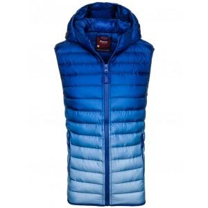 Jarní pánská prošívaná vesta na zip sytě modré barvy