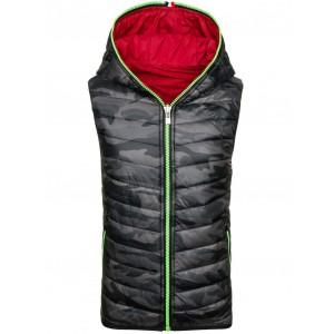 Pánská oboustranná vesta v army stylu s kapucí