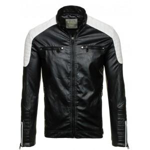 Pánská černá kožená bunda se zipem na rukávech