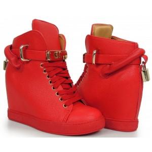 Červené dámské kotníkové boty na podpatku na šněrování