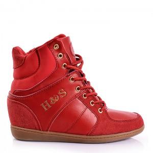 Červené dámské kotníkové boty na šněrování