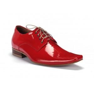 Pánské červené lesklé kožené boty COMODO E SANO