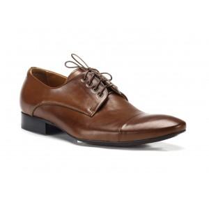 Kožené společenské boty hnědé COMODO E SANO