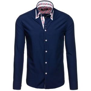 Tmavě modrá košile s dlouhým rukávem pro pány vhodná na každou příležitost