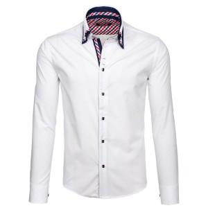 Pánské košile bílé barvy s knoflíky na límci