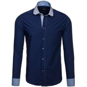 Pánské slim košile tmavě modré barvy s páskovým lemováním