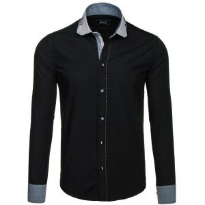 Pánské košile slim v černé barvě s ozdobnými knoflíky na límci