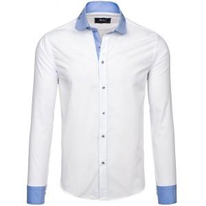 Pánská bílá košile s dlouhým rukávem s modrým lemováním