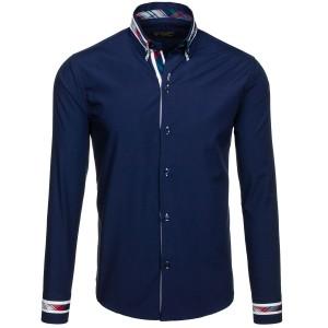 Elegantní košile s dlouhým rukávem v tmavě modré barvě pro pány