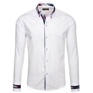 Společenská košile pánská v bílé barvě se stylovým lemováním