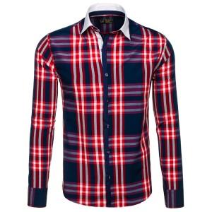 Károvaná košile v červené barvě s bílým límcem pro pány