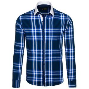 Stylová pánská slim fit košile károvaná modrá