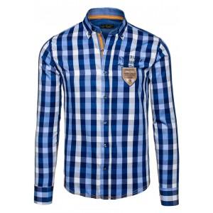 Kostkovaná košile s dlouhým rukávem modré barvy s nášivkou vpředu