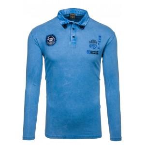 Modrá kvalitní polokošile s dlouhým rukávem pro každého muže