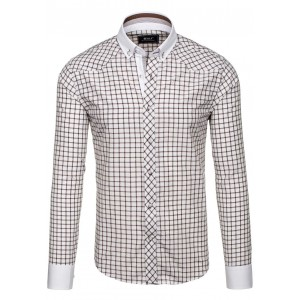 Značkové bílo hnědé pánské kostkované košile slim fit