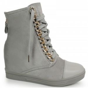 Dámské kotníkové šněrovací boty na platformě šedé barvy