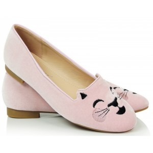 Balerínky dámské v růžové barvě s kočičím motivem