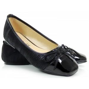 Černé dámské balerínky s mašličkou
