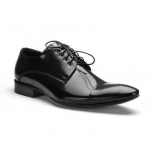 COMODO E SANO společenská pánská kožená obuv černé barvy